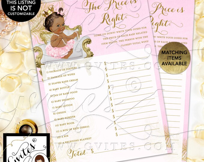 "INSTANT DOWNLOAD - The Price is Right Pink and Gold Cards Princess Baby Shower Vintage, 5x7"" 2/Per Sheet Med/Brunette {White/Gold Feathers}"
