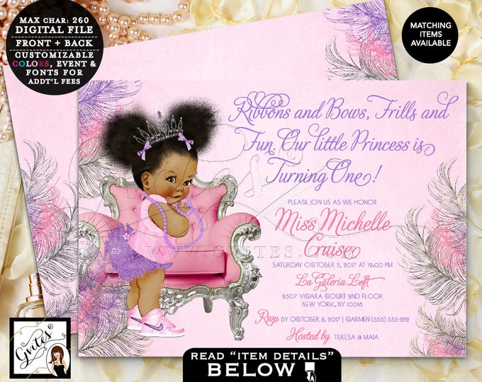 """First Birthday baby girl, African American, Cute Pink invitations, Outfit pink and purple, 1st chair, party , adorable invites, 7x5"""" Gvites"""