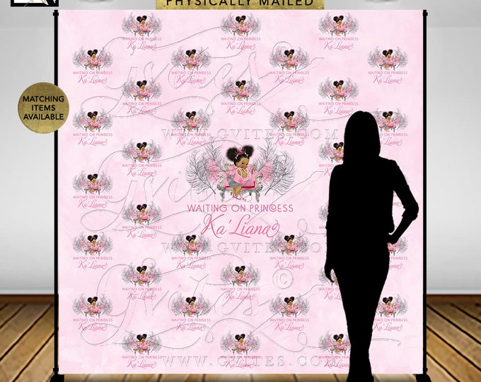 Step and Repeat Backdrop 8x8' Pink and Silver, Baby Shower, Princess Vintage Girl African American, Afro Puffs Pink Tiara, DIGITAL.