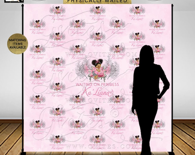 Pink and Silver Baby Shower Step and Repeat Backdrop 8x8'  Princess Vintage Girl African American Afro Puffs Pink Tiara DIGITAL.