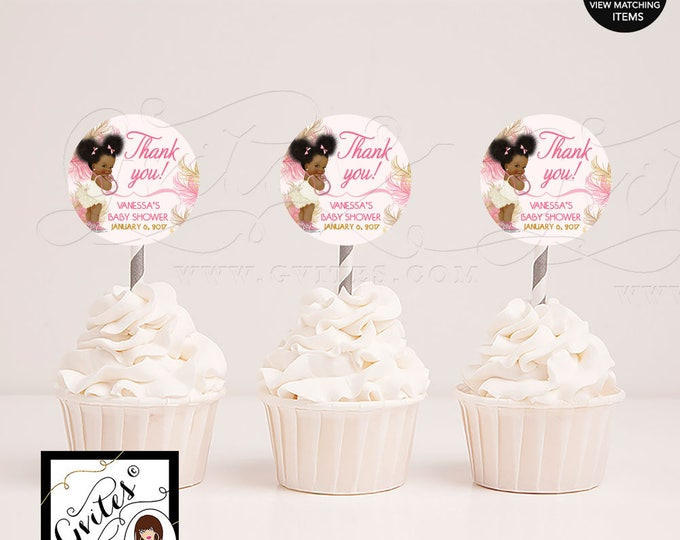 "Cupcake toppers printable, pink gold baby shower party circles, African American baby girl, afro puffs, DIY, 2x2"" 12/Per Sheet"