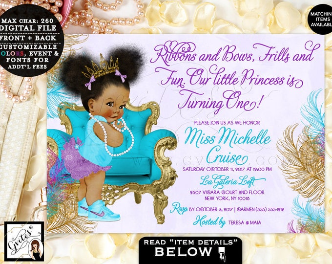 Turquoise Purple Gold Princess First Birthday Invitation, African American baby girl tiara, Ribbons Bows, Afro Puffs  Gvites