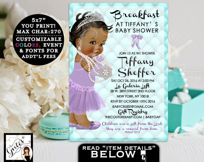 Breakfast at Baby Shower Printable, Aqua Blue Turquoise and Lavender, Princess, African American, Diamonds and Pearls, DIY, Digital File 5x7
