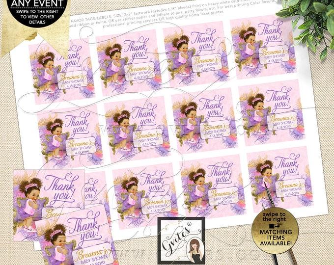 Thank You Tags Pink Purple Gold Baby Shower African American Princess Afro Bun Puffs Tiara   Digital PDF + JPG By Gvites Design: TIACH-118