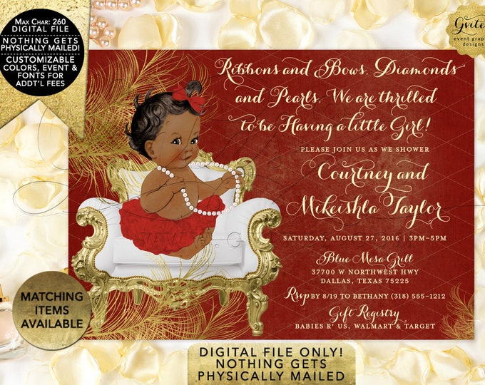 """Red and Gold Baby shower invitations African American ribbons bows diamonds pearls, vintage girl tutu invite digital. 7x5"""" {Gold Feathers}"""