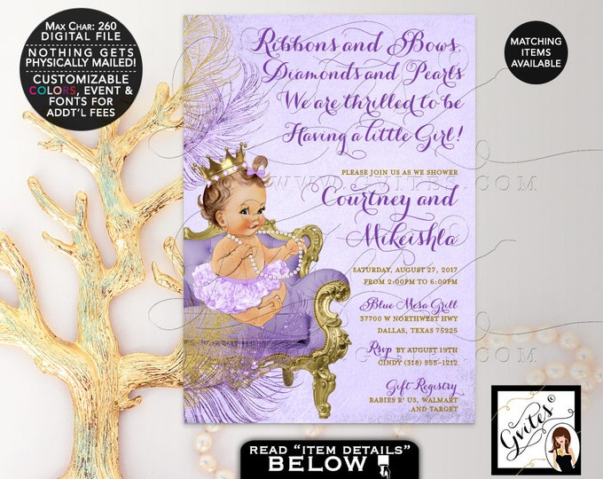 Lavender Gold and purple baby shower invitation, Ribbons and Bows, Diamonds and Pearls, princess baby girl invites, DIGITAL 5x7 Gvites