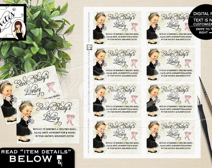 """Book For Baby Tickets, Princess Baby Shower, Ivory Beige and Black, Bow Diamonds Pearls, Breakfast at Printable, DIY, 3.5x2.5"""" 8 Per Sheet"""