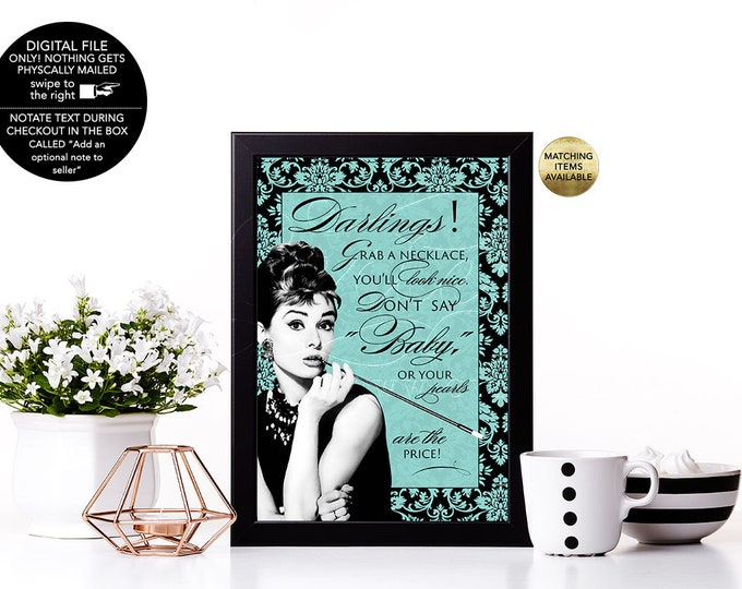 Don't Say Baby Necklace Game Sign, Breakfast at Audrey Hepburn printable games, Sizes available: 4x6, 5x7 & 8x10