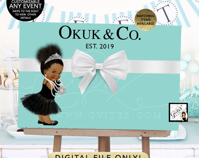 Baby and Co Backdrop Decorations, poster signs, birthdays, blue decor, DIY, Digital