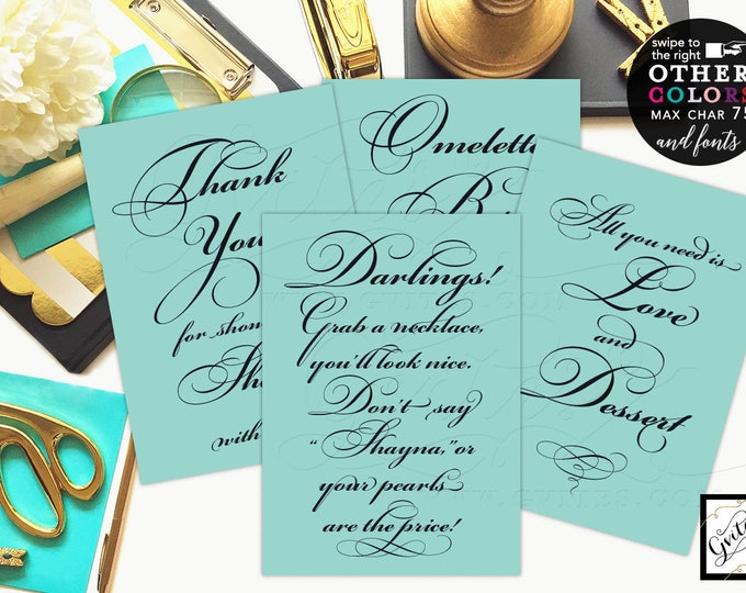 """Bridal shower signs, breakfast at co blue table decor, bridal shower, party food, menu cards, {4x6"""" or 5x7""""} Set of 4 CUSTOMIZABLE TEXT."""