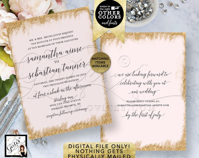 "Blush Pink and Gold Wedding Invitations Printable Template, Digital Invitation Bridal, Modern Calligraphy Font Invites, 5x7"" Double Sided."