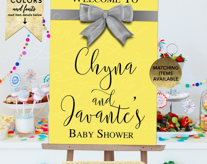 Couples Baby Shower Welcome Sign, Silver and Yellow Customizable Poster Printable Decorations. Digital File Only!
