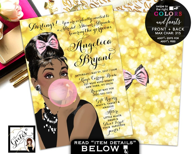 Gold and Pink, African American, Audrey Hepburn Breakfast Bridal Shower invitations, DIGITAL 5x7, double sided.
