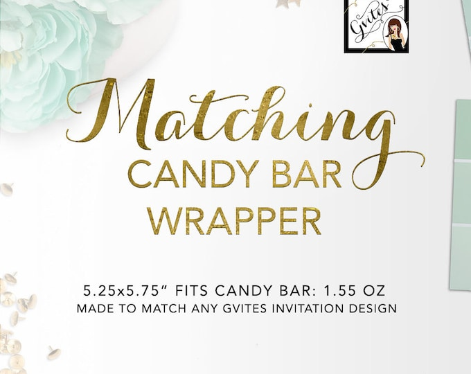 Candy Bar Wrappers Labels (1.55 Oz Hershey Bar) Add-on - To coordinate with any Gvites invitation design.