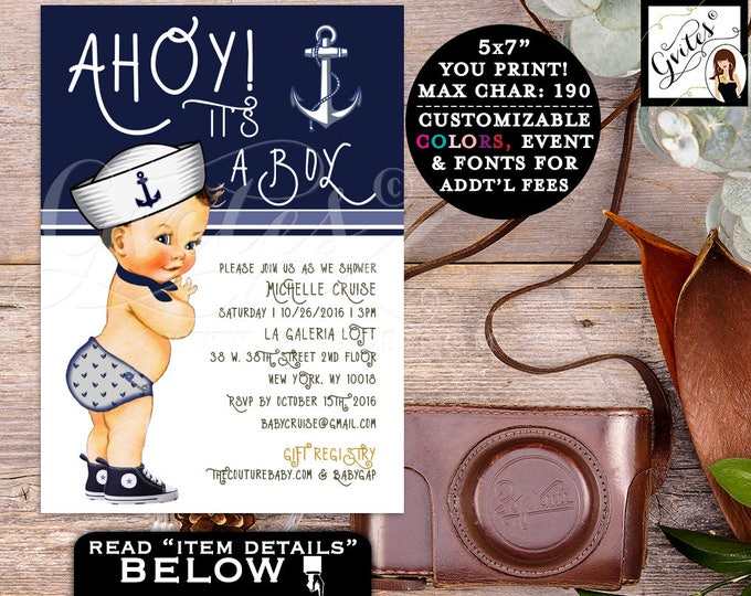 "Nautical Baby Shower Boy Invitation, Little sailor, ahoy it's a boy, navy blue invites. 5x7"" Gvites"
