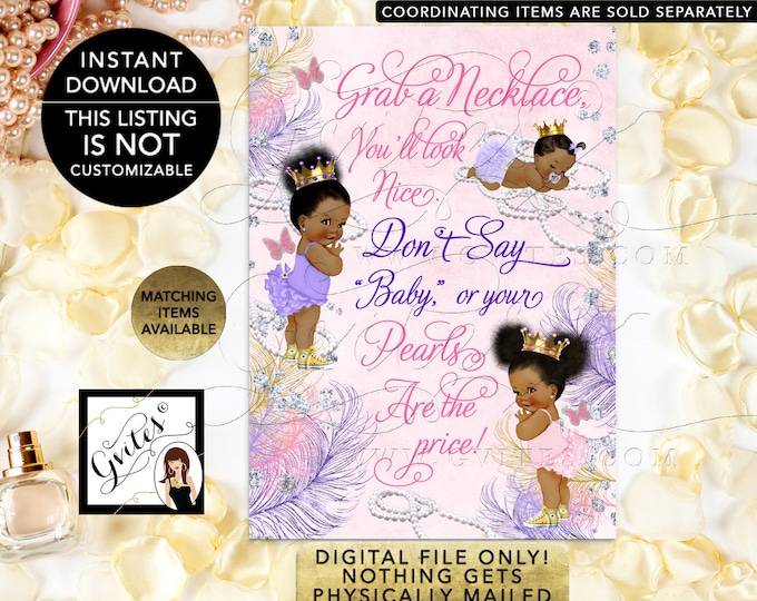 """Don't Say Baby or your pearls are the price! Birthday, Pink Gold Purple Lavender Printable Digital File! 5x7"""" JPG + PDF {Instant Download}"""
