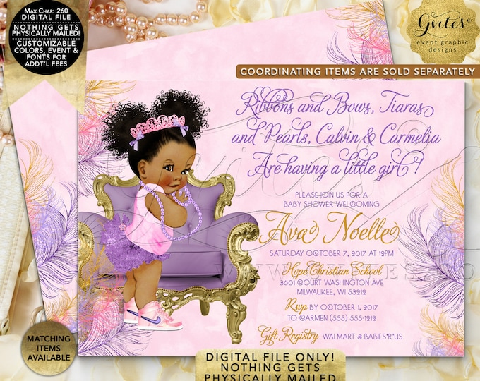 Pink Purple & Gold Baby Shower, African American Princess Invites, Afro Puffs Curly  Tiara Digital file, Printable, 7x5 Double Sided. Gvites