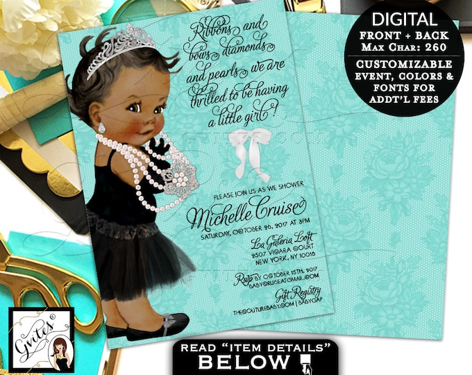 "Breakfast at Baby and Co Ribbons Bows Diamonds and Pearls Baby Shower Printable Invitation, African American Baby Girl, Vintage, 5x7"" Gvites"