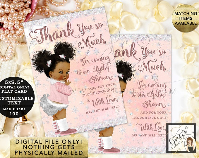 "Customizable Thank You Cards Baby Winter Wonderland Pink Silver, it's Cold Outside. Digital File Only! {3.5x5"" 4 Per/Sheet}"