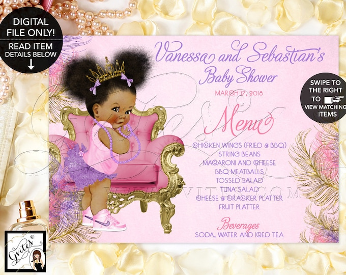 "Baby Shower Menu Cards, Pink Purple Gold, Afro Puffs, Ribbons bows diamonds Princess African American, Menus Table Decor, DIGITAL 7x5"" 6x4"""