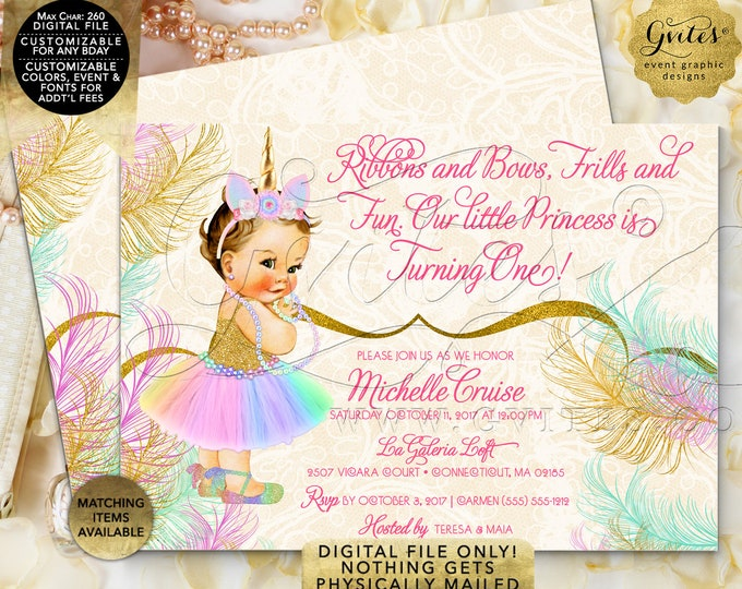 "Unicorn Birthday Invitation | Pastel Rainbow Colors |  7x5"" Double Sided 