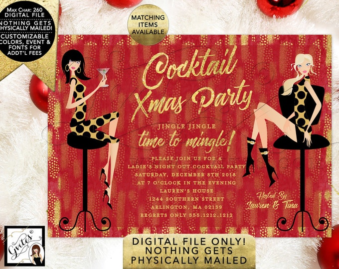 Cocktail Christmas Party Printable Invitation, Red and Gold, Modern Invites. 7x5""