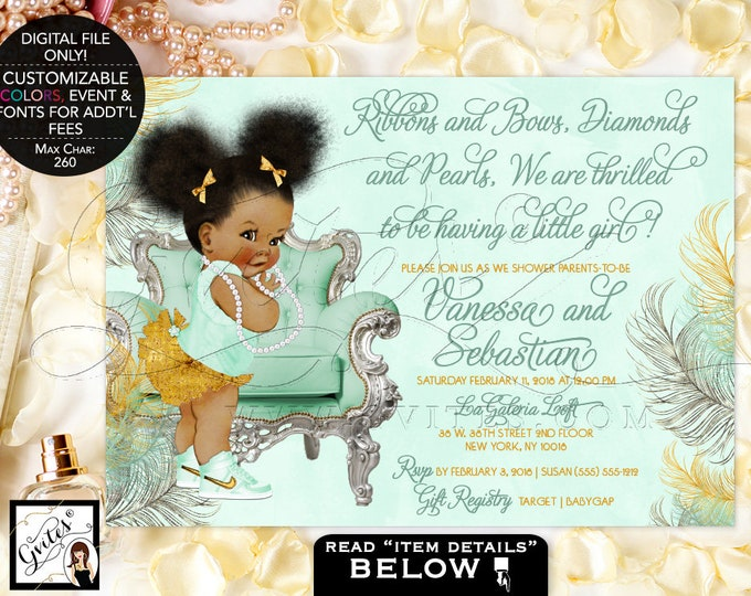 Mint Green, Gold and Silver Baby Shower Printable Invitations, Ribbons and Bows, Diamonds and Pearls, Afro Puffs, Vintage Baby, Digital File