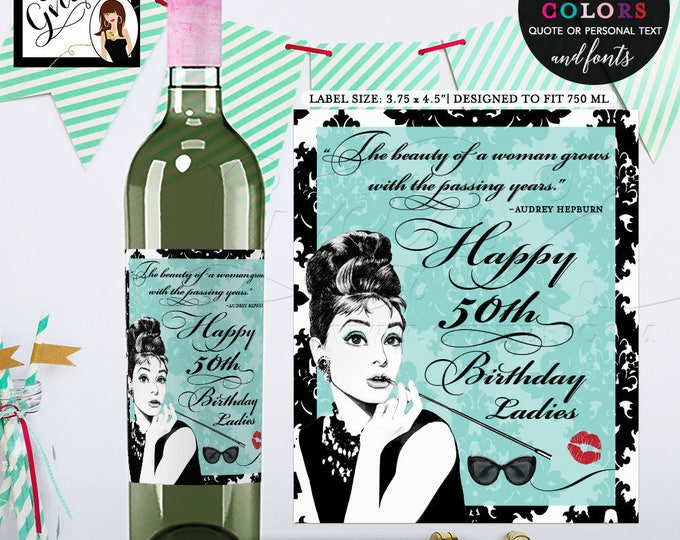 """Wine labels 50th birthday, Breakfast at PERSONALIZED wine labels. Digital File Only! {3.75x4.5""""/4 Per Sheet} PRINTABLE"""