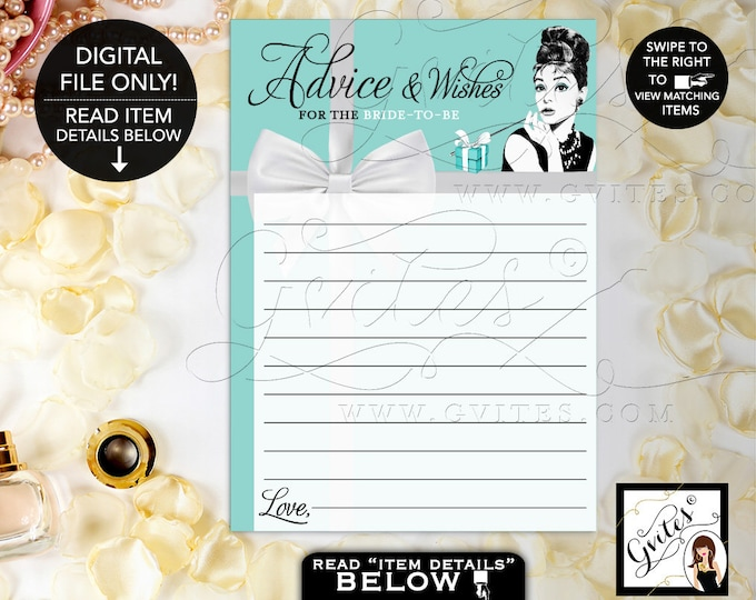 """Advice Cards Bridal Shower, Advice and Well Wishes, Printable Audrey Hepburn Party Theme, Blue, Breakfast at, 5x7"""" 2 Per Sheet. Gvites"""