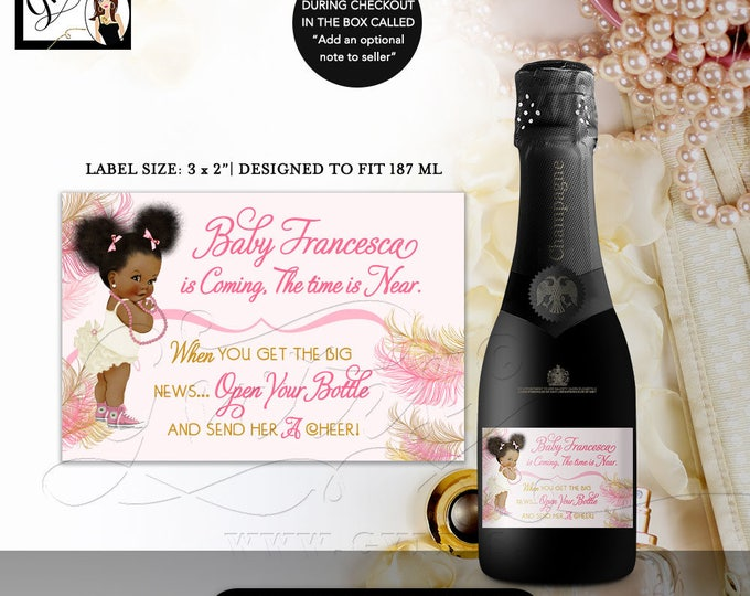 Pink and Gold MINI Champagne Labels Baby Shower, the time is near, favors afro puffs african american baby girl DIGITAL 3x2/9 Per Sheet