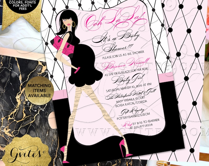 Ooh La La Party Baby Shower Invitation | Digital File Only! JPG + PDF Format | By Gvites