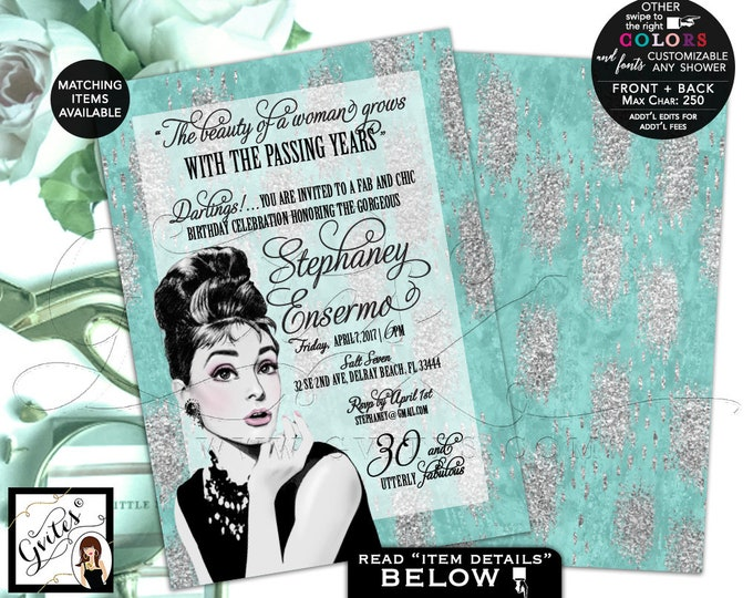 """30 and Utterly Fabulous Breakfast birthday invitation, Audrey Hepburn, Turquoise blue and silver elegant invites, double sided, 5x7"""" Gvites"""