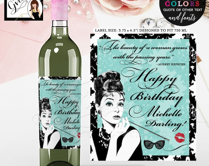 "Breakfast Themed Happy Birthday Darling Wine Label - Audrey Hepburn, PERSONALIZED wine labels. PRINTABLE {3.75x4.5""/4 Per Sheet}"