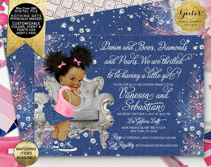 """Afro Puffs Denim Diamonds Bows Baby Shower Invitations, Vintage Baby Girl Silver Blue Pink, Digital File! 7x5"""" Double Sided. DIY, Printable."""
