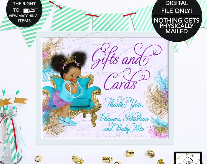 Baby Shower Gifts and Cards Sign, Turquoise Lavender & Gold Printable Party Table Decorations, Afro Puffs, African American, DIY, Printable