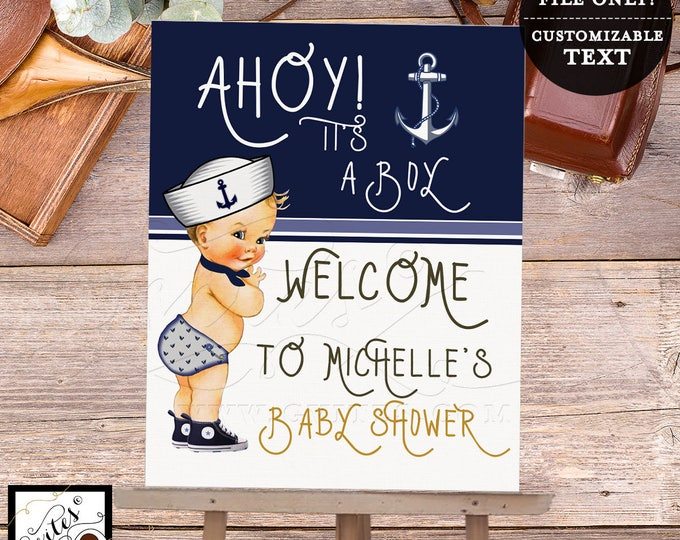 """Nautical Baby Shower Welcome Sign, Decoration, Poster, Banner, Decor, Little sailor printable, navy blue and white, 5x7"""" Digital File Only!"""