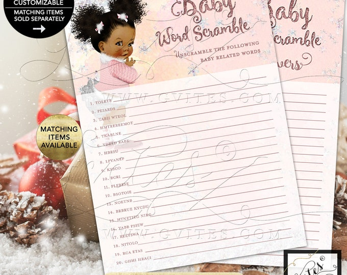 "Baby Word Scramble Game Baby Winter Wonderland Pink Silver, it's Cold Outside, African American 5x7"" 2/Per Sheet {INSTANT DOWNLOAD}"