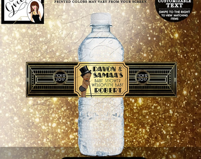 """Gatsby themed baby shower water labels, 1920s black and gold water bottle label, sticker, decorations, BOY. DIGITAL FILE 8x2""""/5 Per Sheet."""