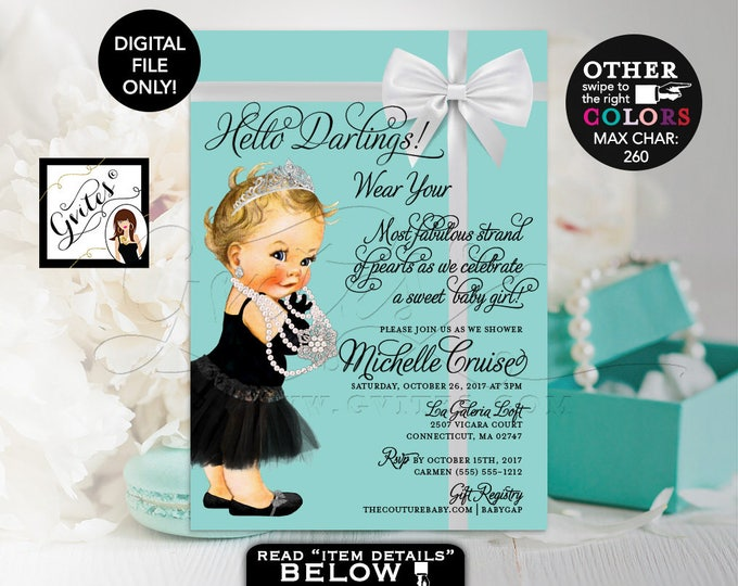 """Baby and Co Baby Shower Invitation, Audrey Hepburn Baby Girl Vintage, Princess Silver Tiara, White Bow DIGITAL FILE, 5x7"""" Gvites"""