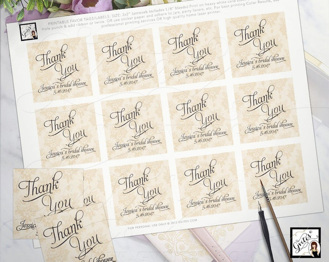 "Thank You Tags Labels Bridal Shower Party Favors Gold Stickers, Fall, Vintage pearls lace ivory lace PRINTABLE wedding 2x2"" 12/Per Sheet."