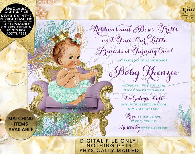 Mint and Lavender 1st Birthday Invitation, Printable Digital File Only! JPG + PDF 7x5""