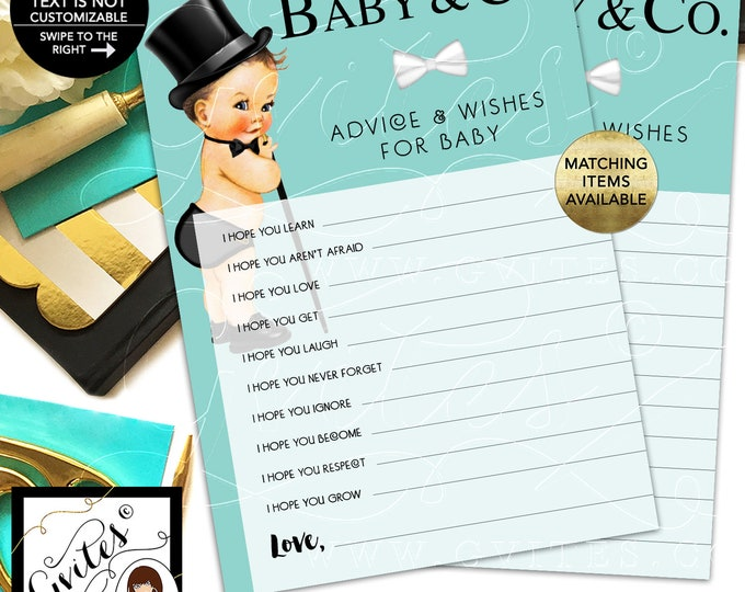 Baby and Co Advice Card, Baby Wishes, African American Vintage Boy with Top Hat and Cane. INSTANT DOWNLOAD, 5x7/2 Per Sheet {Light Brunette}