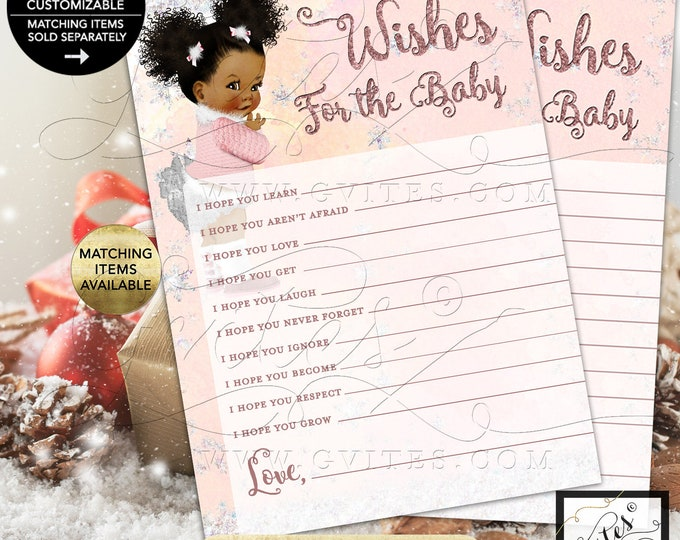 "Wishes For Baby Winter Wonderland Baby Shower, Pink and Silver, Baby it's Cold Outside, African American 5x7"" 2/Per Sheet {INSTANT DOWNLOAD}"