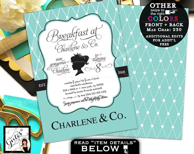 Breakfast at Baby and Co first birthday invitation, 8th birthday princess 1st, digital file 5x7 double sided. Gvites