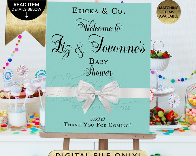 Welcome Coed Baby Shower Signage Poster, Baby Signs and Decorations, Breakfast and Co, Digital Printable, Gvites, Vintage Cards.
