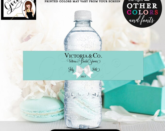 "Water bottle labels, Bride and Co bridal shower, water bottle labels, stickers, tags, Audrey decorations, printables. 8x2"" 5 Per/Sheet"