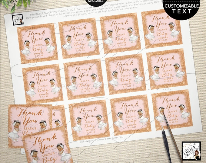 Twins Thank You Labels, Stickers, Baby Shower Tags, Favors, Party Decor Rose Gold African American Twin Girls, Printable, Digital File.