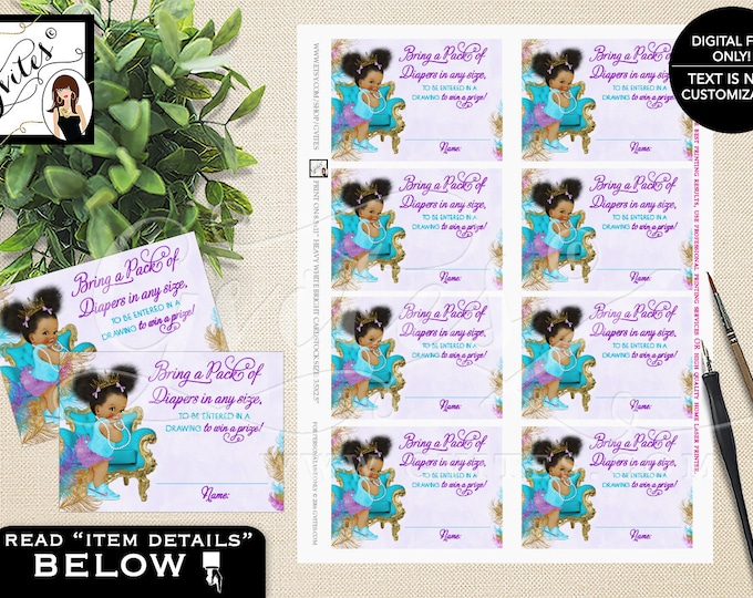 "Diaper raffle tickets, purple turquoise gold diaper tickets ethnic baby girl, raffle ticket games. PRINTABLE 3.5x2.5"" 8/Sheet."