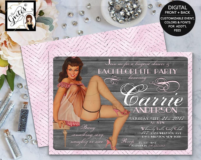 Pin Up Girl Invitation, Pinup Bachelorette Lingerie, Girl invitations, 1950s retro invites, vintage cards, 5x7.