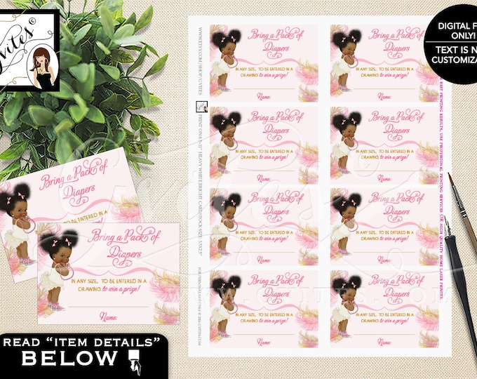 "Diaper Raffle Tickets Printable Pink and Gold Afro Puffs, Vintage Baby Girl African American 3.5x2.5""/8 Per Sheet"